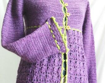 Ombeline cardigan - Crochet pattern pdf, sizes XS to XL - Women's cardigan with empire waist