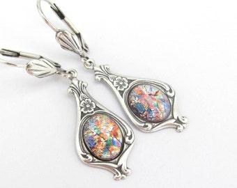 Art Deco Earrings, Art Nouveau Earrings, Antiqued Silver Plated, Multi Color Art Glass, Bride Wedding Bridesmaid, Vintage Wedding
