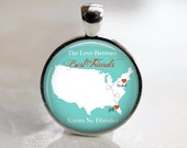 Custom Friends Key Chain or Pendant - Long Distance Friends on a Map.  Personalized with Names - Best Friends - Mother and Daughter