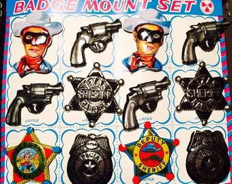 12pcs VINTAGE TIN BADGES Litho Pins Japan