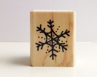 hand inked snowflake rubber stamp
