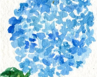 ACEO Blue Hydrangea Original Watercolor Painting Art Card