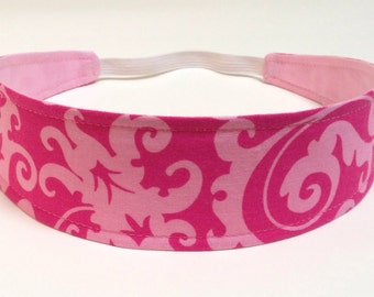 Headband for Girls, Child's, Children's Headband - Fuchsia Pink with Light Pink Swirl Floral - Reversible Fabric - RASPBERRY SORBET