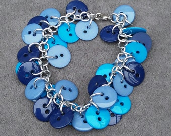 Blue Shaggy Button Bracelet