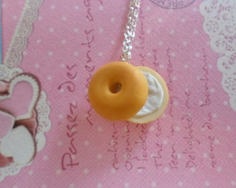 Polymer Clay Bagel Necklace: Miniature Food Jewelry Necklace, Polymer Clay Food Necklace