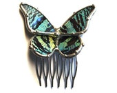 Flower Girl Hair Comb - Real Sunset Moth Bridal Hair Comb - Cute Green and Black Butterfly