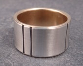 Double Lined Wedding Band -- Sterling Silver and 14k Gold