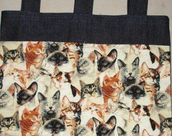 New Handmade Denim Walker Bag Cat Kitty Heads Faces Theme