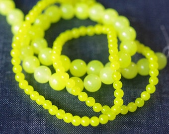 4mm, 8mm Dyed Neon Yellow Lemon Jade Smooth Round Beads - Two Strands