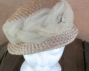 Vintage 1960s Hat Straw Cello Ecru Tulle Butterfly 2014496