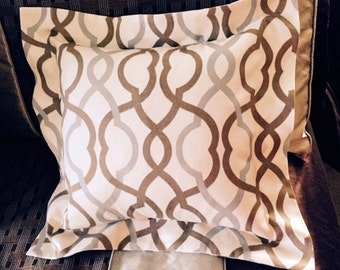 Throw Pillow Cover with Flange | Waverly Make Waves Latte fabric