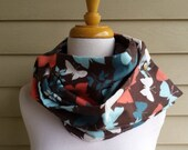 Brown BUTTERFLY flannel infinity snap scarf cowl shawl