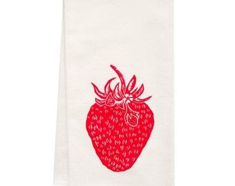ORGANIC strawberry tea towel