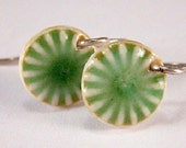 Porcelain Earrings Forest Green Little Medallion Earrings With Sterling Silver Earwires