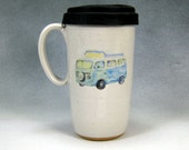 16 - 18 Ounce Ceramic Travel Mug With Lid /Ceramic Coffee Cup Pottery Travel Mug Blue VW Bus / Camper Hand Thrown Stoneware Pottery