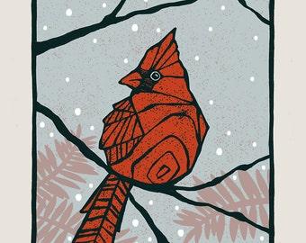 Cardinal - Screenprinted Art Print