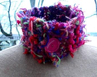 Pom Pom crocheted neckwarmer in red, pink, green & purple