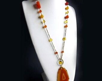 Orange Agate Slice Gemstone Necklace - Fall Autumn Pendant Golden Pumpkin Colors