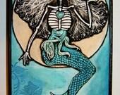 La Sirena Luna Mini Original Art Woodblock Print