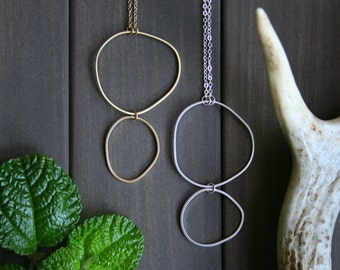 Topo Necklace 1 - circle freeform round topography gold golden short minimal minimalist modern uneven everyday