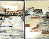 TWO landscape paintings on gallery wrapped canvas  wall art home decor shelf sitters two