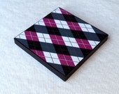 Pink And Black Argyle Pattern Modern Design Decorative 6x6 Mounted Square Art Print