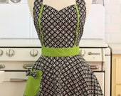 Retro Apron Black and White Deco Tiles with Lime Green MAGGIE