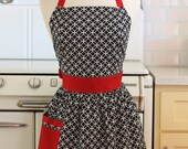 Retro Apron Black and White Deco Tile with Red CHLOE