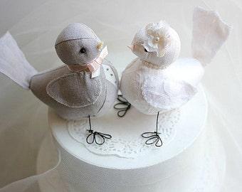 Love Birds cake topper - Wedding bird cake topper - Light Grey Linen and Ivory Silk Dupion - Bird Wedding Cake Topper - MADE TO ORDER