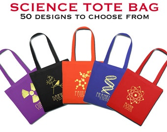 Science Tote Bag - Scientist or Astronomer, Geeky Book Bag Designs - Shopping or Reusable Grocery Bag - Nerdy Purse