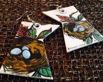 Spring Has Sprung - hand-painted Robin's Nest Bird Egg Earrings