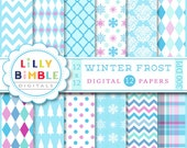 40% off Winter Frost digital scrapbook papers ice blue, powder blue, purple, lavender, snowflakes Instant Download paper