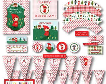 40% off Little Red Riding Hood Party DIY printables cupcake toppers, wrappers, invites, Birthday Kit Instant Download