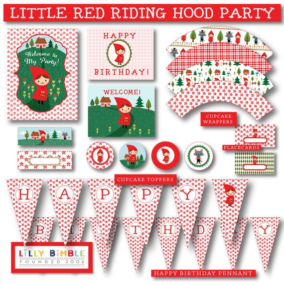 Little Red Riding Hood Party DIY printables cupcake toppers