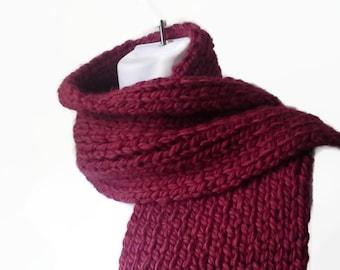 Chunky Hand Knit Classic Scarf Burgundy Oxblood Rib Knit Scarf Garnet Marsala Men Women Unisex CLARKE Ready to Ship - Fall, Winter Fashion