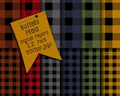Buffalo Plaid Digital Papers, JPG Digital Scrapbooking Paper, Collage Sheets, Plaid Patterns, Digital Download, Gingham Check Digital Papers