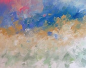Original Landscape Painting Abstract or Impressionist Art Clouds Acrylic Painting on Canvas by Linda Monfort