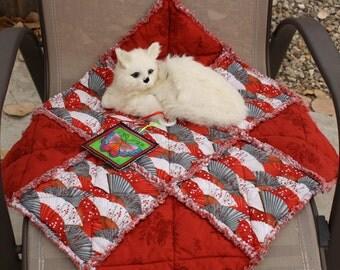 Cat Blanket, Catnip Blanket, Cat Bed, Cat Accessories, Red Cat Bed, Cat Quilt, Small Dog Bed, Fabric Cat Bed, Travel Pet Mat,  Designer Bed