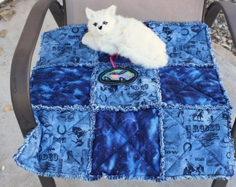 Cat Bed, Cat Blanket, Blue Cat Bed, Rodeo Cat Bed, Colorado Catnip Bed, Cat Quilt, Small Dog Bed, Fabric Cat Blanket, Travel Pet Bed,Pet Mat