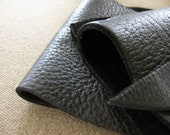 Leather scrap - half pound - True black bull hide