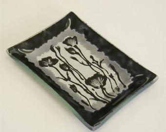 Soap Dish Black and Silver with Weeds in Fused Glass