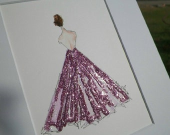 Glamour Gown Watercolor Fashion Dress Art Original Painting by Artist Debra Alouise