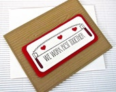 CLEARANCE SALE! We work best together handsaw card handmade stamped embossed love anniversary Valentine funny pun wood grain greeting