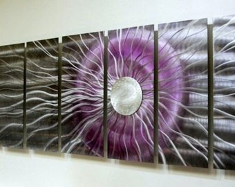 Purple, Silver & Black Abstract Metal Painting - Handmade Metal Wall Art - Modern Home Decor - Fantasy Art - Black Photon XL by Jon Allen