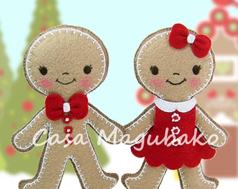 PDF Pattern - Gingerbread Ornament Felt Pattern - Boy & Girl - Christmas Decoration Sewing Pattern - Hand Sewing Project - Instant Download