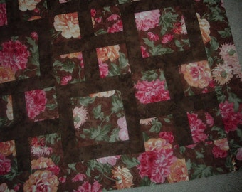 Quilt Top to Finish Florals in Pinks and Browns 62 x 62 inches