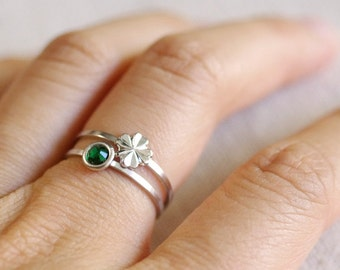 four leaf clover ring . lucky clover ring . shamrock stacking ring . stackable clover ring . st. patrick's day . shamrock jewelry // 4LCKY