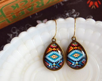 southwestern tribal style teardrop dangle earrings- turquoise - aged brass