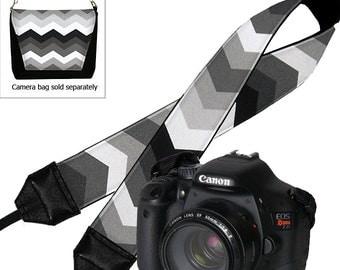 SALE Padded Dslr Camera Strap  for Canon, Nikon, etc  Chevron SLR Camera Neck Strap for Men and Women black gray white  RTS