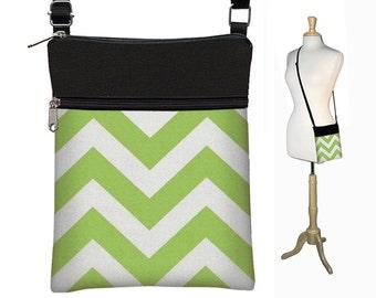 SALE Chevron Sling Bag Shoulder Purse Cross Body Bag Small Travel Purse Zipper Fits eReaders chartreuse lime green chevron MTO